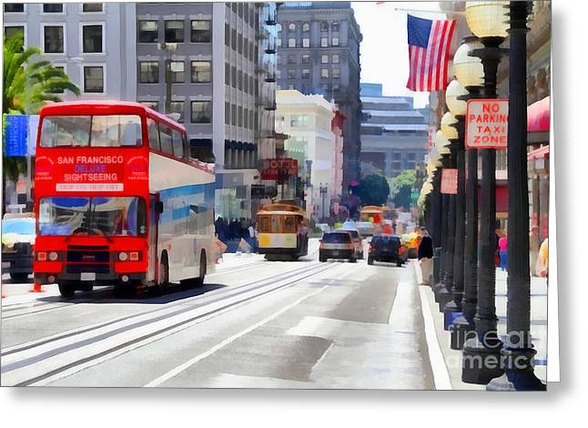 Downtown San Francisco Greeting Cards - Double Decker Sightseeing Bus Along Powell Street In San Francisco California . 7D7269 Greeting Card by Wingsdomain Art and Photography