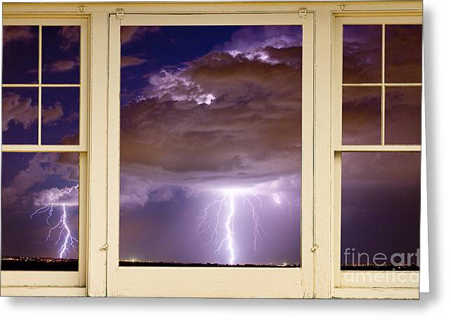 Double Lightning Strike Picture Window Greeting Card by James BO  Insogna