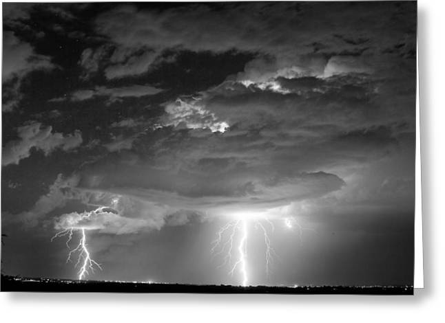 Lightning Strike Greeting Cards - Double Lightning Strikes in Black and White Greeting Card by James BO  Insogna