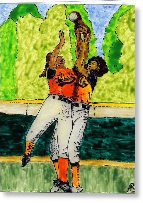 Softball Paintings Greeting Cards - Double Play Greeting Card by Phil Strang