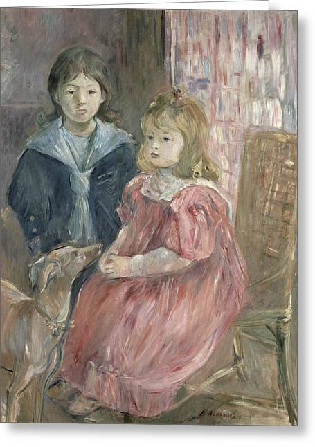 Whippet Greeting Cards - Double portrait of Charley and Jeannie Thomas Greeting Card by Berthe Morisot