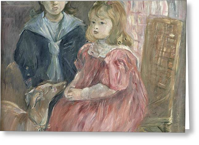 Double portrait of Charley and Jeannie Thomas Greeting Card by Berthe Morisot
