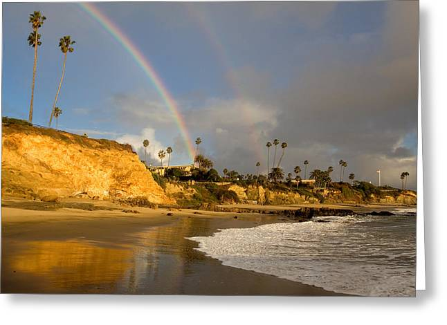 Sandstone Bluffs Greeting Cards - Double Raibow over Laguna Beach Greeting Card by Cliff Wassmann