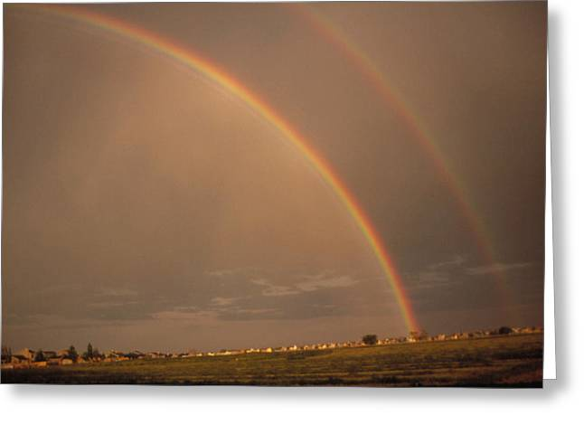 Double Rainbow Greeting Cards - Double Rainbow Over Colorado Greeting Card by Magrath Photography