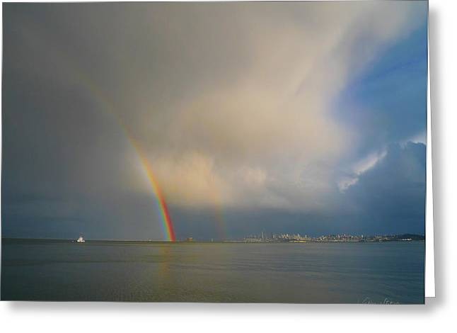 Double Rainbow Greeting Card by Sabine Stetson