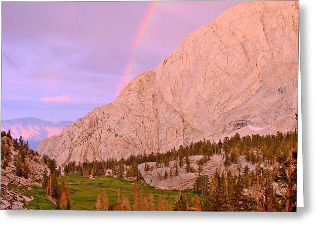 Mount Whitney Greeting Cards - Double Rainbow Greeting Card by Scott McGuire