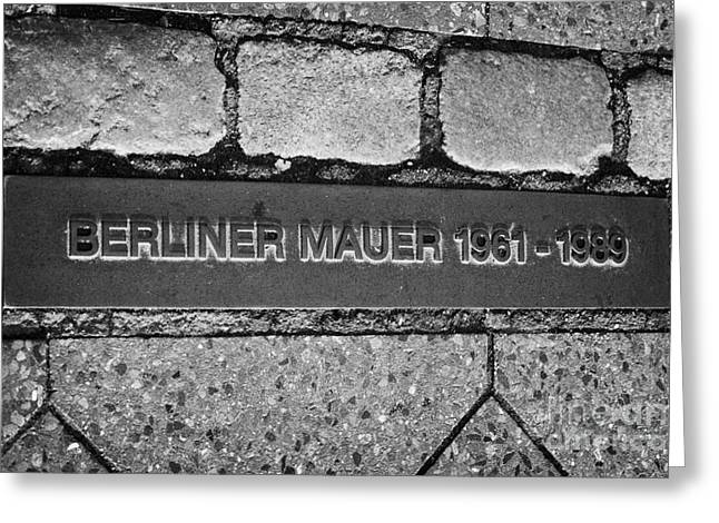 Berlin Germany Greeting Cards - double row of bricks across berlin to mark the position of the berlin wall berliner mauer Germany Greeting Card by Joe Fox