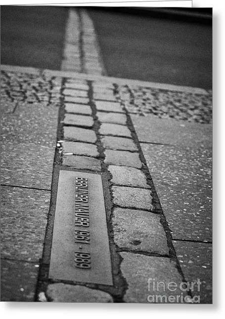 Berlin Germany Greeting Cards - Double Row Of Bricks Across Footpath And Road In Berlin To Mark The Position Of The Berlin Wall  Greeting Card by Joe Fox