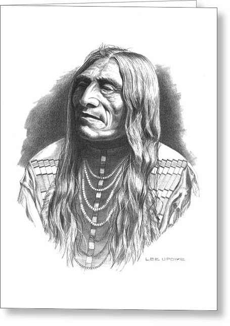 Western Pencil Drawing Greeting Cards - Double Runner Greeting Card by Lee Updike
