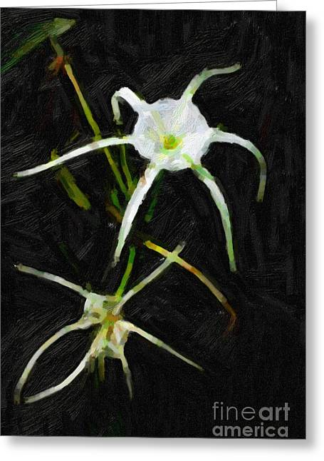 Flowers Stretched Prints Greeting Cards - Double Spider Lily Painting Greeting Card by M K  Miller