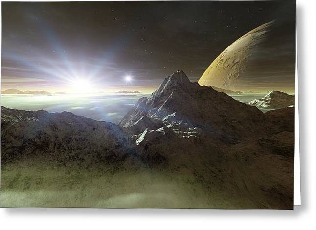 Binary Stars Greeting Cards - Double Star Sunset On An Alien Planet Greeting Card by Detlev Van Ravenswaay