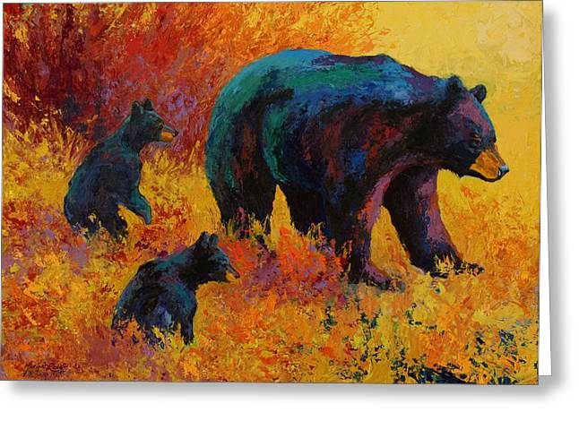 Spirit Paintings Greeting Cards - Double Trouble - Black Bear Family Greeting Card by Marion Rose