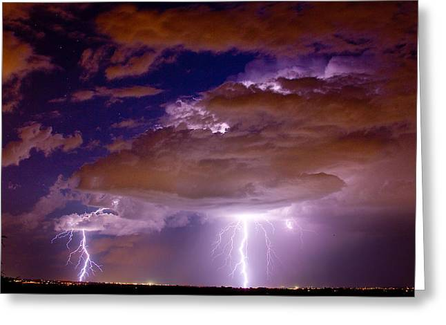 Lightning Bolt Pictures Greeting Cards - Double Trouble Lightning Strikes Greeting Card by James BO  Insogna