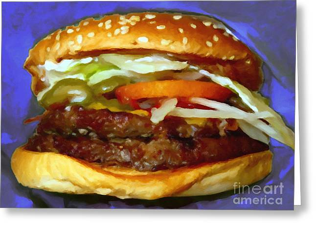 Cheeseburger Greeting Cards - Double Whopper With Cheese And The Works - v2 - Painterly - Purple Greeting Card by Wingsdomain Art and Photography