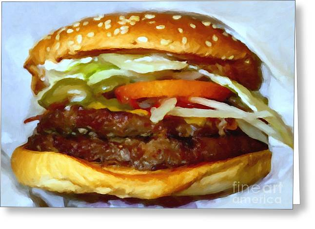 Cheeseburger Greeting Cards - Double Whopper With Cheese And The Works - v2 - Painterly Greeting Card by Wingsdomain Art and Photography