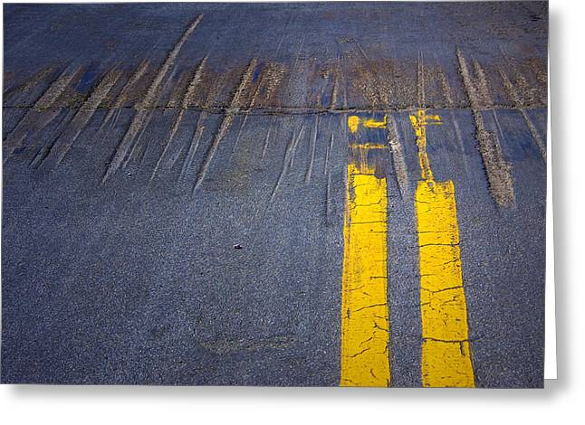 Double Yellow Line Greeting Cards - Double Yellow Lines on a road in San Diego Greeting Card by Randall Nyhof