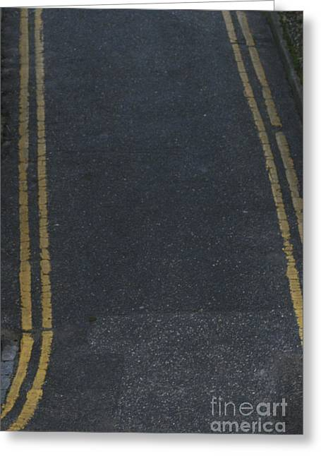 Double Yellow Line Greeting Cards - Double Yellows Greeting Card by Andy  Mercer