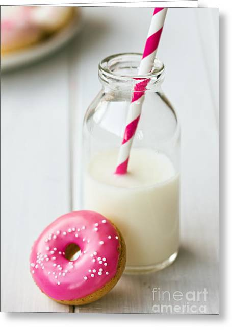 Doughnuts Greeting Cards - Doughnut and milk Greeting Card by Ruth Black