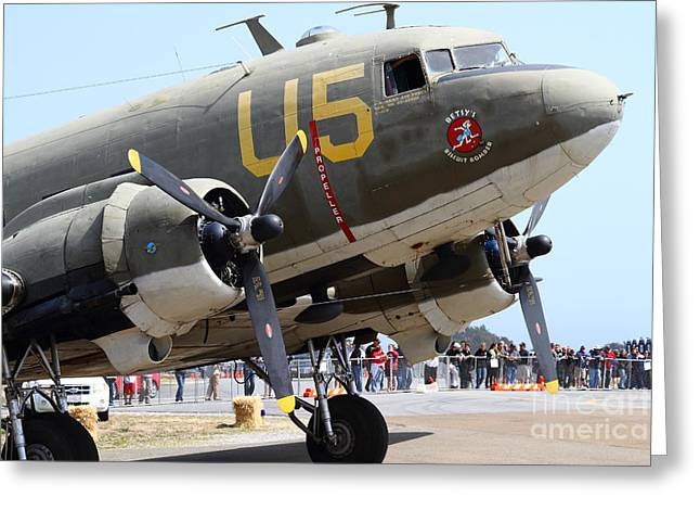 Dc-3 Greeting Cards - Douglas C47 Skytrain Military Aircraft 7d15774 Greeting Card by Wingsdomain Art and Photography