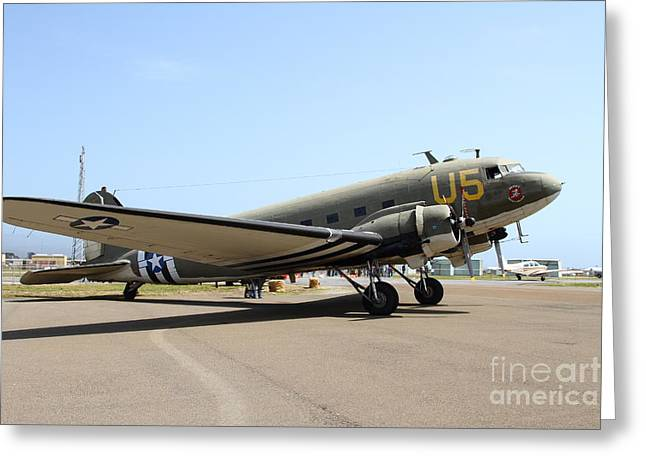 Dc3 Greeting Cards - Douglas C47 Skytrain Military Aircraft 7d15786 Greeting Card by Wingsdomain Art and Photography