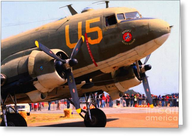 Dc-3 Greeting Cards - Douglas C47 Skytrain Military Aircraft . Painterly Style . 7d15774 Greeting Card by Wingsdomain Art and Photography