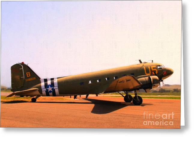 Dc-3 Greeting Cards - Douglas C47 Skytrain Military Aircraft . Painterly Style 7d15788 Greeting Card by Wingsdomain Art and Photography
