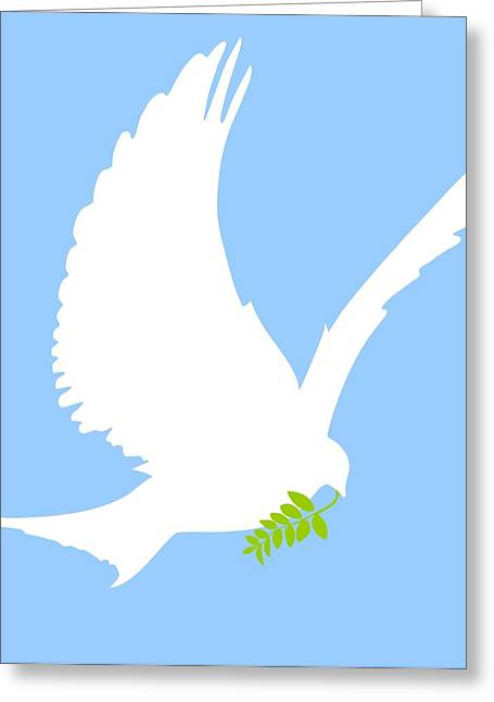 Olive Branch Greeting Cards - Dove And Olive Branch Greeting Card by Colette Scharf