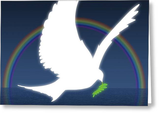 Olive Branch Greeting Cards - Dove Holding An Olive Branch With Greeting Card by Colette Scharf