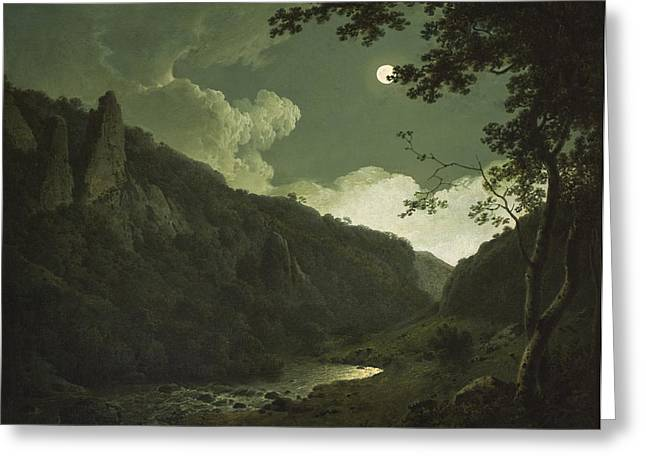 Moonlit Night Greeting Cards - Dovedale by Moonlight Greeting Card by Joseph Wright of Derby