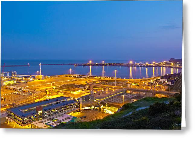 D200 Greeting Cards - Dover Port At Night Greeting Card by Michael Stretton