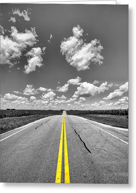 Double Yellow Line Greeting Cards - Down a Black and White Road Greeting Card by Bill Tiepelman