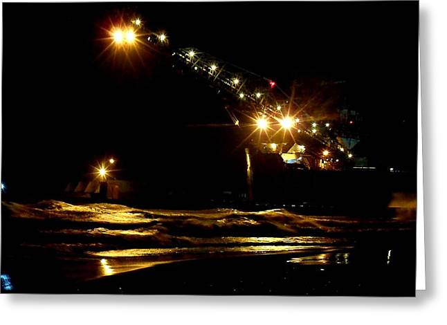 Beach At Night Greeting Cards - Down AT The Boardwalk Greeting Card by Cyryn Fyrcyd