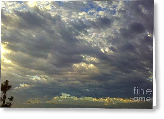 Sun Breaking Through Clouds Greeting Cards - Down Blanket Greeting Card by Tracy Evans