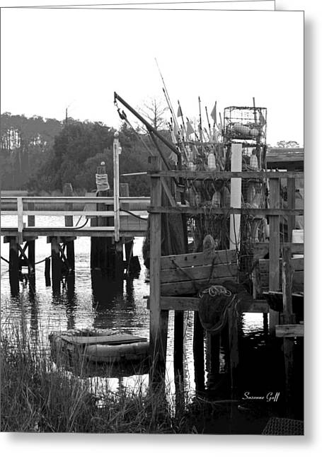 River View Digital Art Greeting Cards - Down by the Docks in black and white Greeting Card by Suzanne Gaff