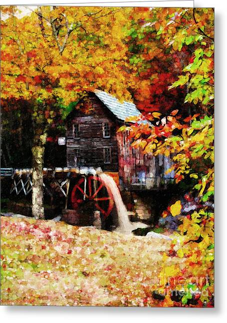 Lianne Schneider Fine Art Print Greeting Cards - Down By the Old Mill Stream Greeting Card by Lianne Schneider