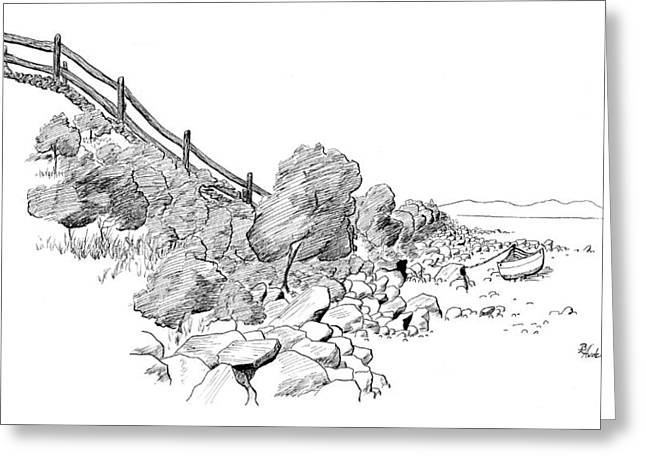 Maine Landscape Drawings Greeting Cards - Down East Transport Greeting Card by Brent Ander