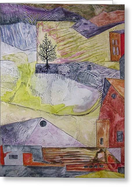 Pasture Scenes Mixed Media Greeting Cards - Down on the Farm Greeting Card by David Raderstorf