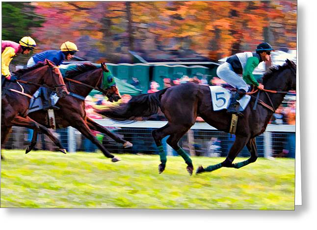 Steeplechase Race Greeting Cards - Down the Home Stretch Greeting Card by Daniel Sands