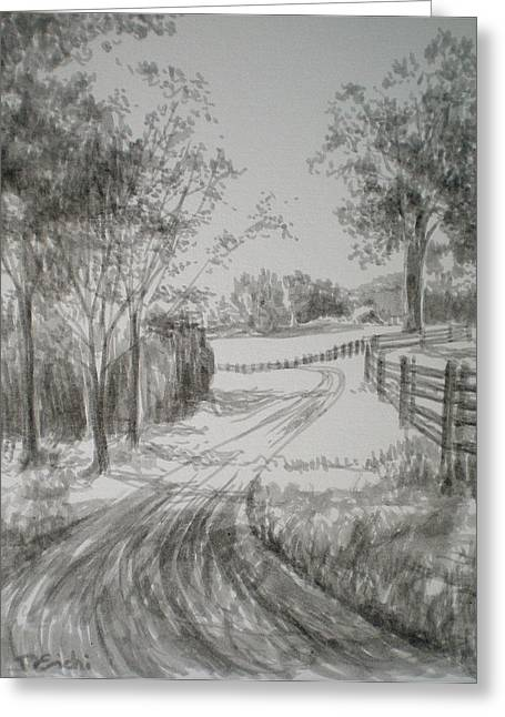 Pasture Scenes Drawings Greeting Cards - Down the Lane Greeting Card by Dominique Eichi