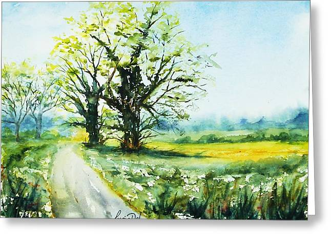 Watercolour Greeting Cards - Down The Lane Greeting Card by Lucia Del