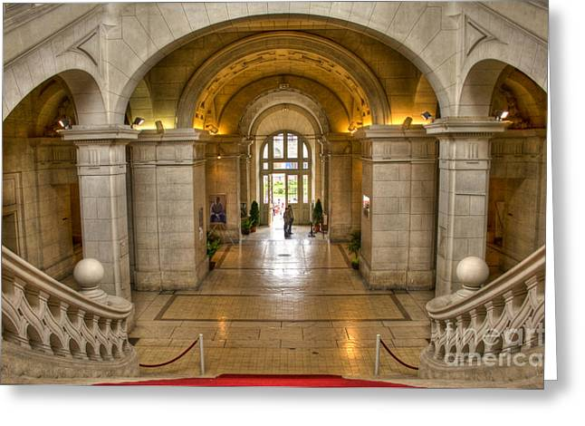 City Hall Greeting Cards - Down The Red Steps Greeting Card by Sophie De Roumanie