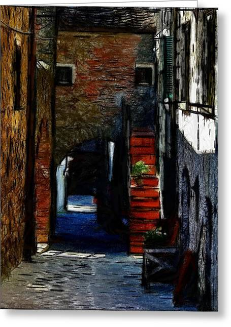 Town Pastels Greeting Cards - Down the Street Greeting Card by Stefan Kuhn