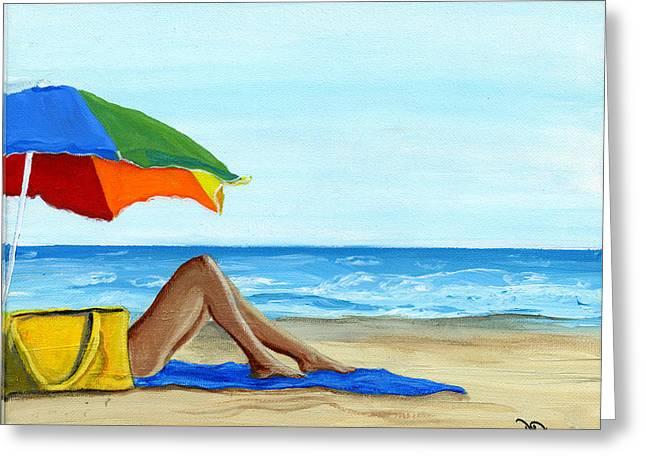 Beach Towel Greeting Cards - Down Time Greeting Card by Debbie Brown