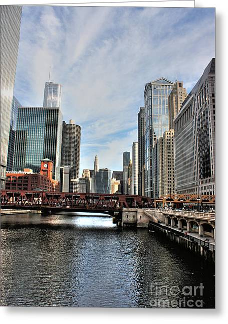 Wacker Drive Greeting Cards - Down Wacker Greeting Card by David Bearden