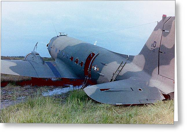 Dc3 Greeting Cards - Downed Gunship 1970 Greeting Card by Ross Powell