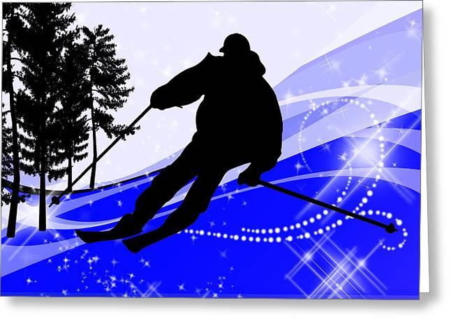 Freestyle Skiing Greeting Cards - Downhill on the Ski Slope  Greeting Card by Elaine Plesser