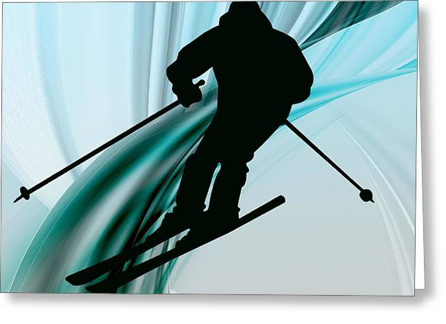 Ski Jumping Greeting Cards - Downhill Skiing on Icy Ribbons Greeting Card by Elaine Plesser