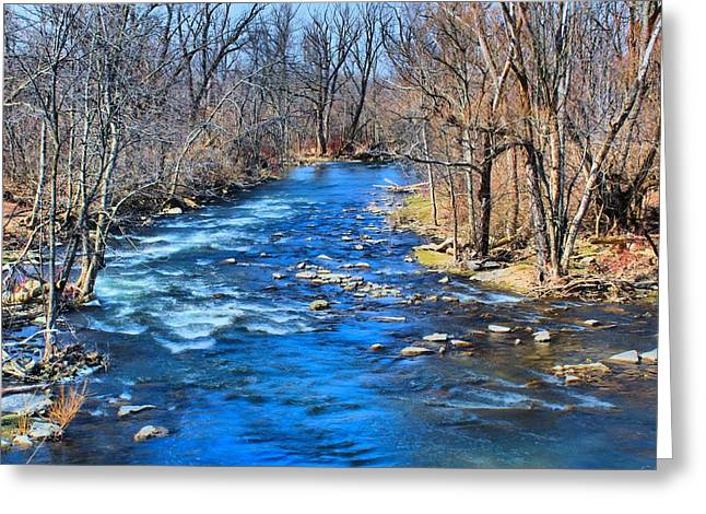 Stream Greeting Cards - Downstream Greeting Card by Peter Chilelli