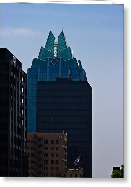 Frost Bank Building Greeting Cards - Downtown Austin Greeting Card by Ed Gleichman