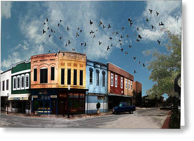 360 Greeting Cards - Downtown Bryan Texas 360 Panorama Greeting Card by Nikki Marie Smith